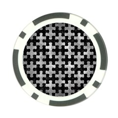 Puzzle1 Black Marble & Gray Metal 2 Poker Chip Card Guard (10 Pack)