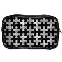 Puzzle1 Black Marble & Gray Metal 2 Toiletries Bags 2 Side