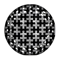 Puzzle1 Black Marble & Gray Metal 2 Ornament (round Filigree)