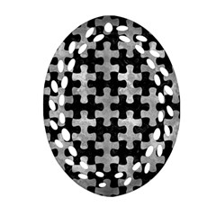 Puzzle1 Black Marble & Gray Metal 2 Oval Filigree Ornament (two Sides)