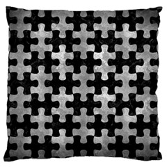 Puzzle1 Black Marble & Gray Metal 2 Large Cushion Case (two Sides)