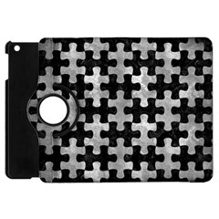 Puzzle1 Black Marble & Gray Metal 2 Apple Ipad Mini Flip 360 Case