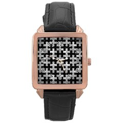 Puzzle1 Black Marble & Gray Metal 2 Rose Gold Leather Watch