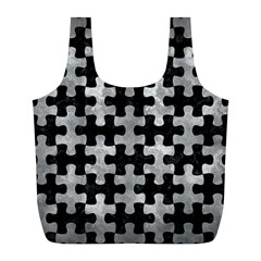 Puzzle1 Black Marble & Gray Metal 2 Full Print Recycle Bags (l)