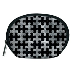 Puzzle1 Black Marble & Gray Metal 2 Accessory Pouches (medium)