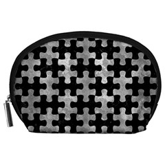 Puzzle1 Black Marble & Gray Metal 2 Accessory Pouches (large)