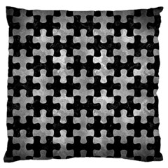 Puzzle1 Black Marble & Gray Metal 2 Large Flano Cushion Case (one Side)
