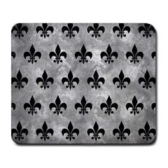 Royal1 Black Marble & Gray Metal 2 Large Mousepads