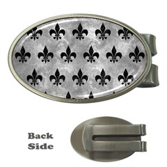 Royal1 Black Marble & Gray Metal 2 Money Clips (oval)