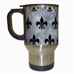 Royal1 Black Marble & Gray Metal 2 Travel Mugs (white)