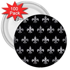 Royal1 Black Marble & Gray Metal 2 (r) 3  Buttons (100 Pack)