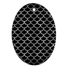 Scales1 Black Marble & Gray Metal 2 Ornament (oval)