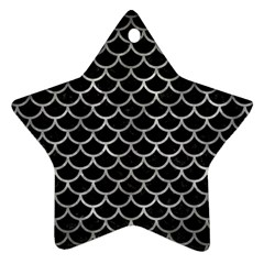 Scales1 Black Marble & Gray Metal 2 Star Ornament (two Sides)