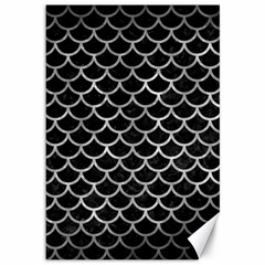 Scales1 Black Marble & Gray Metal 2 Canvas 12  X 18