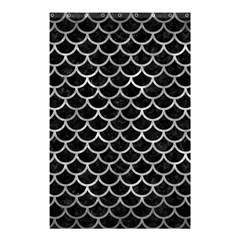 Scales1 Black Marble & Gray Metal 2 Shower Curtain 48  X 72  (small)