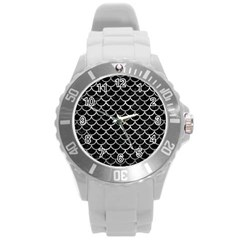 Scales1 Black Marble & Gray Metal 2 Round Plastic Sport Watch (l)