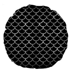 Scales1 Black Marble & Gray Metal 2 Large 18  Premium Round Cushions