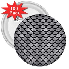 Scales1 Black Marble & Gray Metal 2 (r) 3  Buttons (100 Pack)