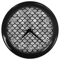 Scales1 Black Marble & Gray Metal 2 (r) Wall Clocks (black)