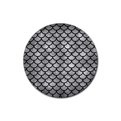 Scales1 Black Marble & Gray Metal 2 (r) Rubber Round Coaster (4 Pack)