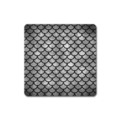 Scales1 Black Marble & Gray Metal 2 (r) Square Magnet