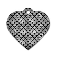 Scales1 Black Marble & Gray Metal 2 (r) Dog Tag Heart (two Sides)