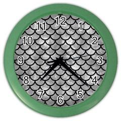 Scales1 Black Marble & Gray Metal 2 (r) Color Wall Clocks