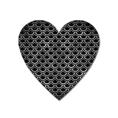 Scales2 Black Marble & Gray Metal 2 Heart Magnet