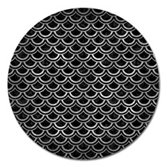 Scales2 Black Marble & Gray Metal 2 Magnet 5  (round)