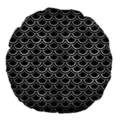 Scales2 Black Marble & Gray Metal 2 Large 18  Premium Round Cushions