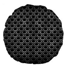 Scales2 Black Marble & Gray Metal 2 Large 18  Premium Flano Round Cushions
