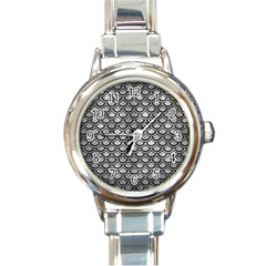 Scales2 Black Marble & Gray Metal 2 (r) Round Italian Charm Watch