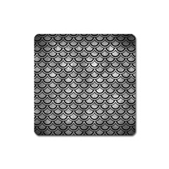 Scales2 Black Marble & Gray Metal 2 (r) Square Magnet