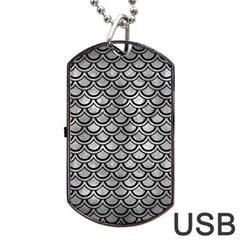 Scales2 Black Marble & Gray Metal 2 (r) Dog Tag Usb Flash (two Sides)