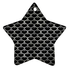 Scales3 Black Marble & Gray Metal 2 Ornament (star)