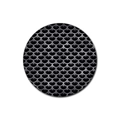 Scales3 Black Marble & Gray Metal 2 Rubber Round Coaster (4 Pack)