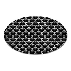 Scales3 Black Marble & Gray Metal 2 Oval Magnet