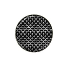 Scales3 Black Marble & Gray Metal 2 Hat Clip Ball Marker