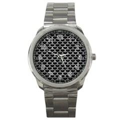 Scales3 Black Marble & Gray Metal 2 Sport Metal Watch