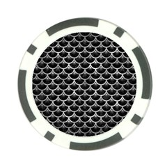 Scales3 Black Marble & Gray Metal 2 Poker Chip Card Guard