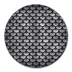 Scales3 Black Marble & Gray Metal 2 (r) Round Mousepads