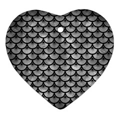 Scales3 Black Marble & Gray Metal 2 (r) Ornament (heart)