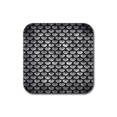 Scales3 Black Marble & Gray Metal 2 (r) Rubber Square Coaster (4 Pack)