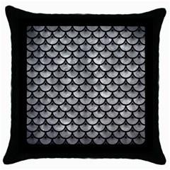 Scales3 Black Marble & Gray Metal 2 (r) Throw Pillow Case (black)