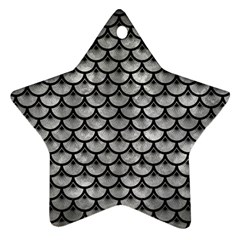 Scales3 Black Marble & Gray Metal 2 (r) Star Ornament (two Sides)