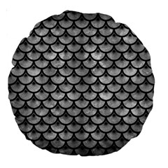 Scales3 Black Marble & Gray Metal 2 (r) Large 18  Premium Round Cushions