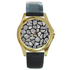Skin1 Black Marble & Gray Metal 2 Round Gold Metal Watch