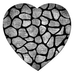 Skin1 Black Marble & Gray Metal 2 Jigsaw Puzzle (heart)
