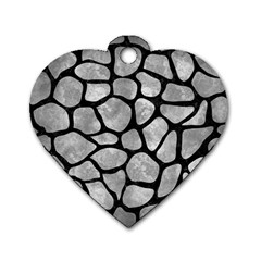 Skin1 Black Marble & Gray Metal 2 Dog Tag Heart (one Side)