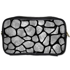 Skin1 Black Marble & Gray Metal 2 Toiletries Bags 2 Side